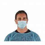 Ansell EB10-599-00 EDGE 67-100 Series Face Masks, 3-Ply, Elastic Ear Loop, Blue, Case of 500 - EB10-599-00