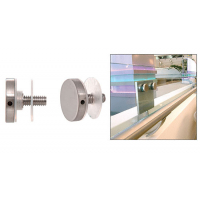 """CRL 316 Brushed Stainless 1-1/2"""" Diameter Standoff Round Cap Assembly - CAP112BS"""