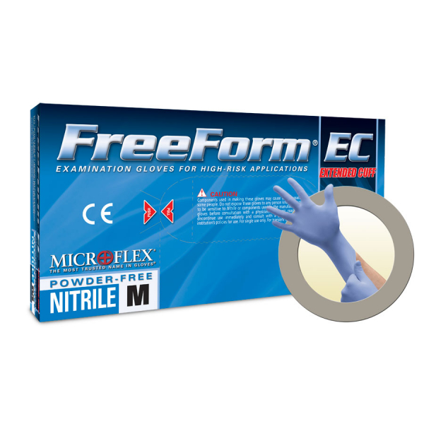 Microflex Medical Grade FreeForm EC Extended Cuff Powder Free Nitrile Exam Gloves Medium FFE-775-M