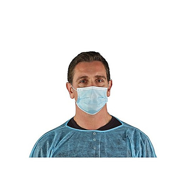 Ansell EB10-599-00 EDGE 67-100 Series Face Masks, 3-Ply, Elastic Ear Loop, Blue, Case of 500 EB10-599-00