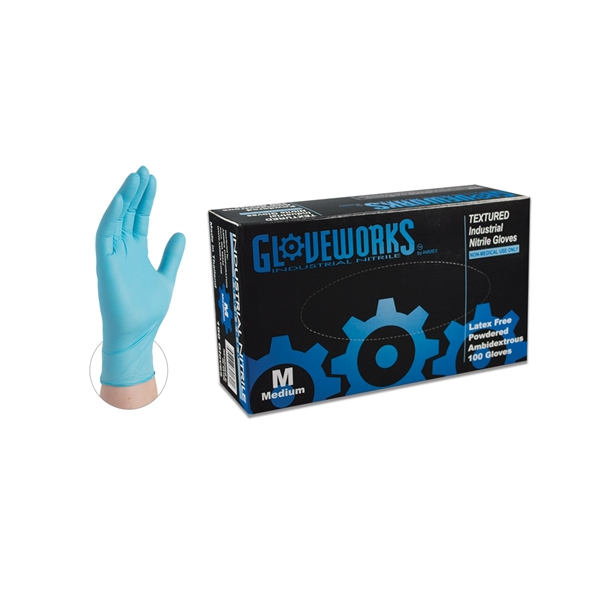 Industrial Grade 100//Box 5 mil AMMEX Blue Powder Free Disposable Case of 1000 INPF42100 Nitrile Gloves Gloveworks Small