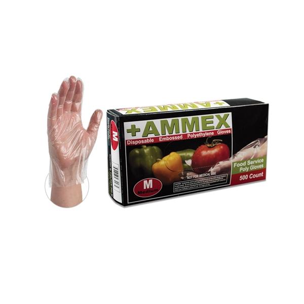 Ammex Food Service Poly Gloves 500 (Medium) - Case of 2,000 PGLOVE-M-500