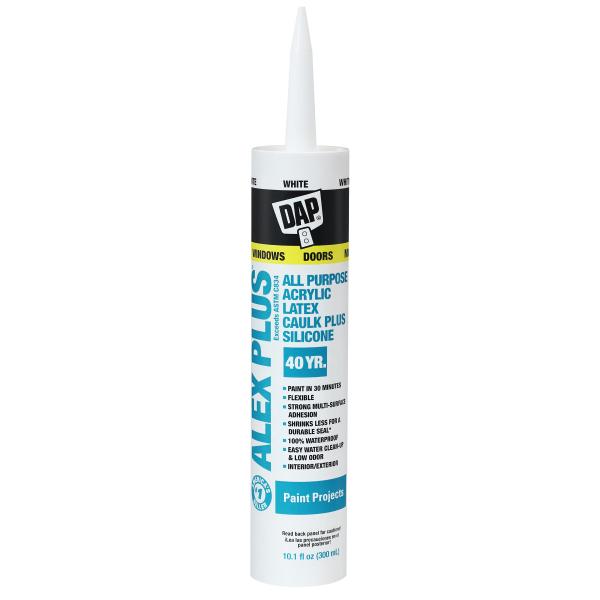 DAP ALEX PLUS Clear All Purpose Acrylic Latex Caulk Plus Silicone - 10.1 Fluid Ounce Cartridge 18071