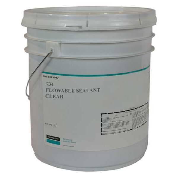 Dow 734 Clear Flowable Acetoxy Silicone Adhesive Sealant - 5 Gallon Pail - 734C-5GAL