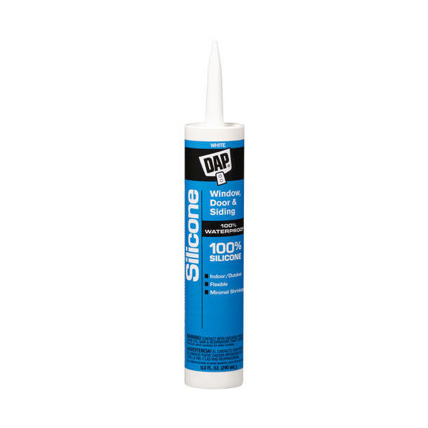 DAP All Purpose White 100% Silicone Window, Door and Siding Sealant - 10.1 Fluid Ounce Cartridges - 08684