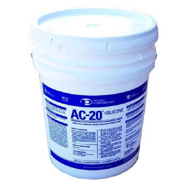 Pecora AC-20 + Tru-White Silicone Acrylic Caulking Compound - 5 Gallon Pail AC20W-5GAL